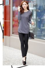 Cyber The Autumn Women Slim Sweater Sexy Lace Shoulder Long Sleeve T-shirt (Dark Grey Size 2XL)