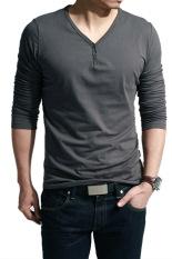 Cyber V-Neck Men's Long Sleeve Casual T-Shirt Tops (Dark Gray)