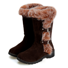 Cyber wanita Flat sepatu bot salju musim dingin yang hangat mengentalkan kasual sepatu faux fur (Coklat)
