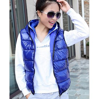 Cyber Winter Women Sleeveless Hooded Shiny Vest Down-Padded Casual Waistcoat (Blue)