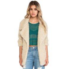 Cyber Winter Women Woolen Outwear Long Sleeves Cardigan Lapel Coat (Beige)
