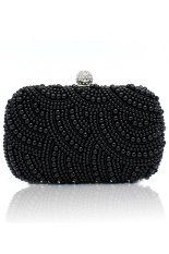 Cyber Women Clutch Bag Pearl Beaded Party Bridal Handbag Wedding Evening Purse (Black)