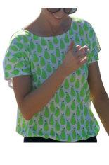 Cyber Women Summer Casual Loose Short Sleeve Back Hollow Out Print T-Shirt Tops (Green)