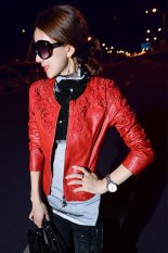 Cyber Women Winter Fine Lace Crochet Water Washed Artificial Leather Jacket Red