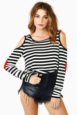 Cyber Women's Long Sleeve Off-shoulder Striped T-shirt Tops (Black / White)
