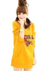 Cyber Women's Long Sleeve Printed Casual Long Hooded Coat (Yellow)