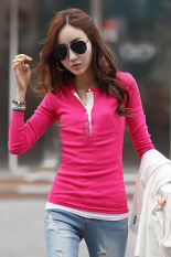 Cyber Women'S Long Sleeve Slim Fitting Warm Thickening Casual Blouse Tops Shirt (Rose Red)