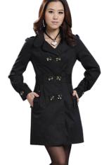 Cyber Women's Slim Double-Breasted Long Sleeve Coat Long Jackets (Black)