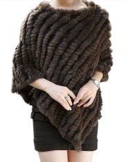 Cyber Women's Soft Knitted Genuine Fur Poncho Jacket Coats (Coffee)