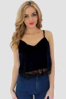 Cyber Women's V-neck Strap Short Vest Sun-top Blouse Crop Tops (Black