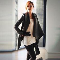 Cyber Womens Winter Woolen Overcoat Trench Woolen Coat (Grey)
