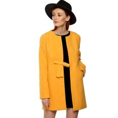 Cyber Zeagoo Autumn / Winter Women Wool Blend Collarless Long Sleeve Coat Outwear With Bowknot