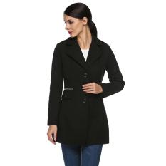 Cyber Zeagoo Women Ladies Down Turn Down Neck Single Breasted Pure Color Outwear Medium Length Wool Coat (Black)