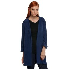 Cyber Zeogoo Women Casual Lapel Long Sleeve Open Front Side Split Trench Long Coat Outwear (Blue)