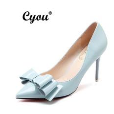 Cyou 2017 New Fashion Fomal Women High Heeled Sandals Ladies Leather Office Heels Party Shoes Pam Kasut Tumit Tinggi Wanita (Blue,Heels 9CM) - intl