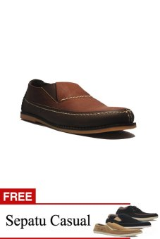 D-Island Shoes Slip On Park Leather Brown + Gratis 1 Sepatu