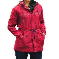 D1NY Collection Jaket Parka Kanvas Wanita Maroon