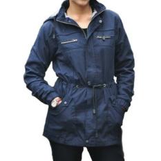 D1NY Collection Jaket Parka Kanvas Wanita Navy