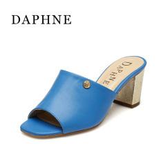 Daphne tren musim panas tebal bertumit tinggi wanita sandal (Biru 114)