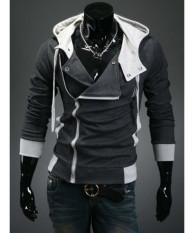 Dark Gray Hooded Cotton Plain Long Sleeve Zipper Mens Jackets