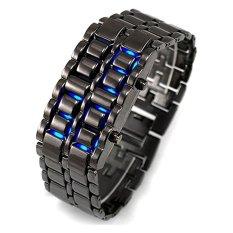 Dbest Kudastore Iron Samurai Jam Tangan - Hitam-Biru - Strap Rantai - LED Tokyo Flash with Metal Case