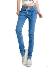 Denim Casual Trousers Baggy Womens Elastic Stretch Waist Harem Jeans Pants S-2XL