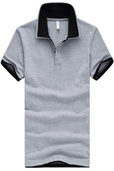 Double Collar Short Sleeve Plus Size Polo Shirt Grey