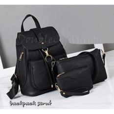 DoubleC fashion Tas Backpack 3in1 Serut Black