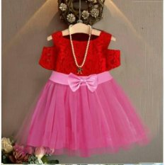 Dress Kids Red Lace Martha 2-4 Th Brokat Mix Tile Sleting Belakang @41 41 -