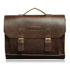 Dual-purpose Genuine Leather Briefcases Business Bag For Men's Shoulder Bag Crossbody Messenger Bag Coffee - Intl