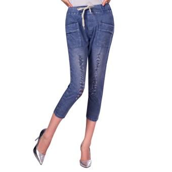Eachemo Women's Butt Lift Super Comfy Stretch Denim Skinny Capri Jeans - intl
