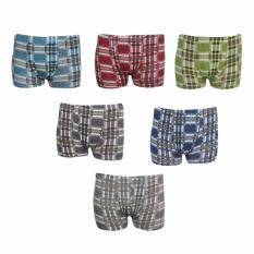 EELIC CDP-012 HIJAU, BIRU, BIRU MUDA, ABU, MERAH, HITAM 6 Pcs Celana Dalam Pria Boxer Kotak