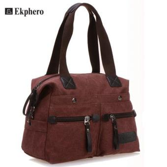 Ekphero Women Men Canvas Multi Pocket Handbags Casual Pillow Shoulder Crossbody Bags Purple