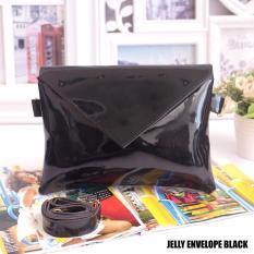 EL PIAZA Tas Selempang Jelly Envelope Hitam - Ransel Mini Ransel Lucu Tas Ransel Sling Bag