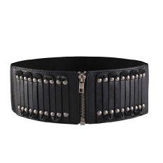 Elastic Faux Leather Belt Waistband Rivet Buckle Waist Wide Stretch Cinch Black (Intl)