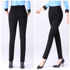 Elastic Waist Harem Pants Female Casual Thin Stretch Pants Trousers Plus Size S-5XL Black - Intl