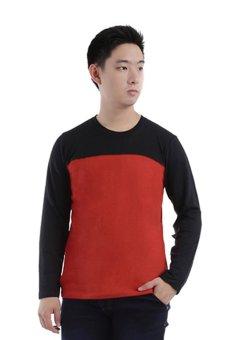 Elfs Shop - Kaos Lengan Panjang Terry Half Hitam 65D16-Merah Cabe