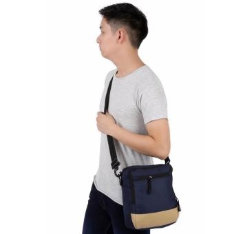 Elfs Shop - Tas Selempang Pria Men's Sling Crossbody Shoulder Bag Canvas Leather Kulit-Biru Dongker