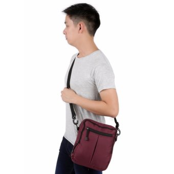 Elfs Shop - Tas Selempang Pria Men's Sling Crossbody Shoulder Bag Canvas Simple-Maroon