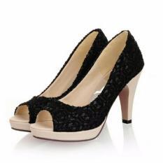 Ellen Grosir - High Heels Swan Brukat (Hitam)