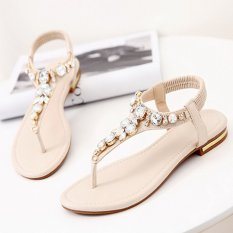 EOZY Fashion Ladies Women Flat Sandals PU Leather Shoes Flip Flops Stylish Female Summer Beach Casual Sandals (Beige)