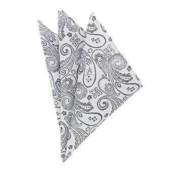 EOZY Men's Elegant Business Pocket Square Fashion Paisley Design Pocket Square - Grey - Intl - Intl