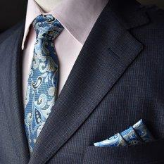 EOZY Men's Formal Commercial Gentleman Tie And Pocket Towel Set Polyester Silk Neckties Business Vintage Wedding Ties (Blue)