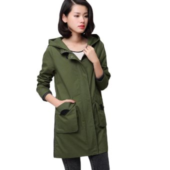 0c58cd3ea Harga EOZY Trendy Spring Autumn Women s Loose Long Coat Korean Style ...