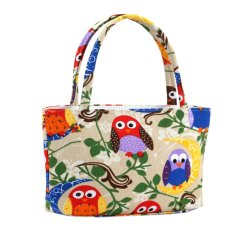 EOZY Trendy Women Tote Bags Ladies Messenger Handbag Shoulder Bag Korean Style Female Colorful Owl Pattern Canvas Portable Cosmetic Bag Top-Handle Bag (Beige) (Intl)