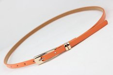 Eozy Women's Candy Color Belt Thin Needle Buckle Waistband Solid Color Synthetic Leather Belt Cloth Accessories For Ladies' Jeans Pants Dress (Orange)