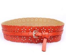 Eozy Women's Wide Waistband Hollow Out Flower Pattern Belt Vogue Retro Style Needle Buckle PU Leather Belt For Pants Dress (Orange) (Intl)