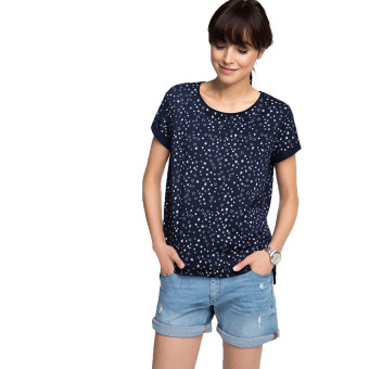 Esprit Casual Top In Blended Cotton - Navy