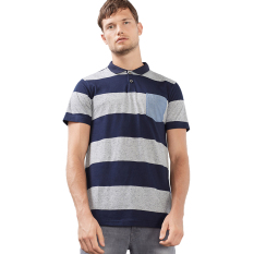 Esprit Jersey Polo Shirt With Stripes, Cotton Blend - Navy