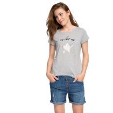 Esprit T-Shirt With A Sequin Star - Gunmetal